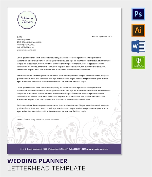 wedding planner letter head template