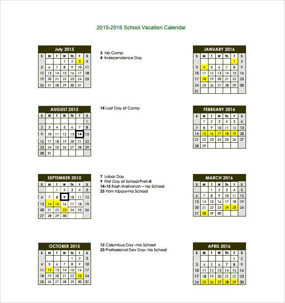 vacation calendar pdf