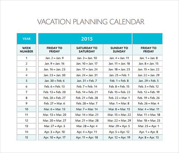 vacation calendar planner