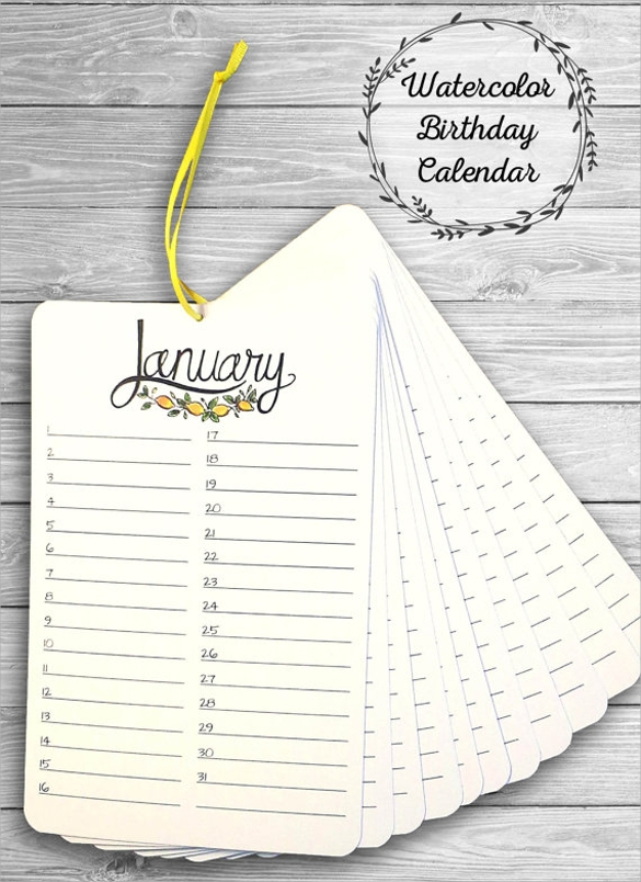 Birthday Calendar Template Handmade Birthday Calendar Template