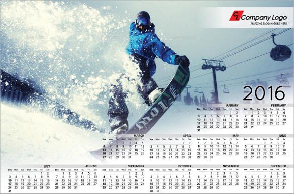 printable 2016 calendar template1