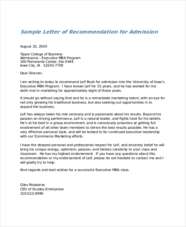 Beautiful Letter Of Recommendation For Admission In Sample Letter Of Recommendation