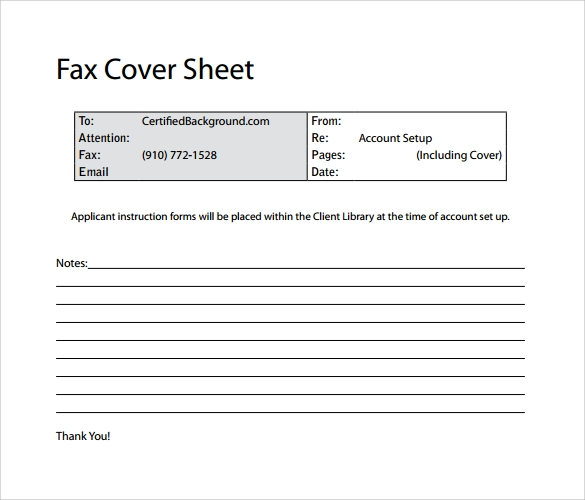 10 Basic Fax Cover Sheet Templates Free Sample Example Format