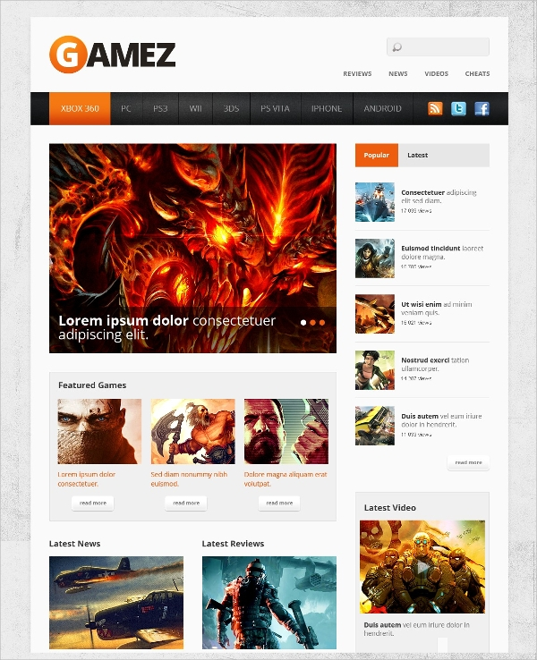 30  Gaming Website Themes   Templates 2016 Sample Templates 8ONrLdFq
