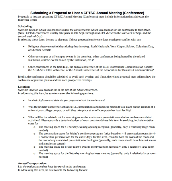 Captivating Basic Conference Proposal Template