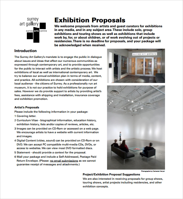 Art Exhibition Proposal Template  Free Proposal Template Word