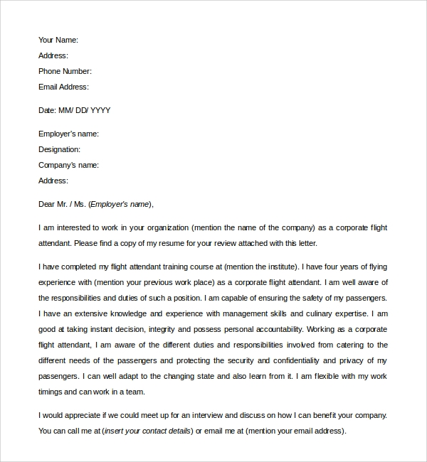 Sample Flight Attendant Cover Letter 6 Free Documents