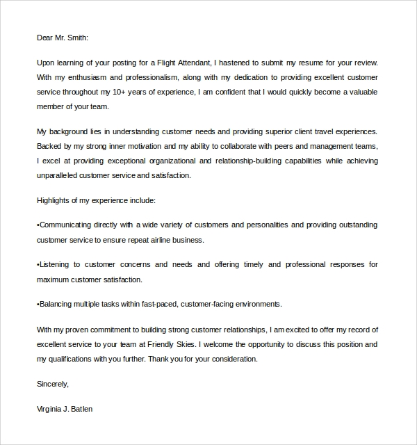 air flight attendant cover letter - Template