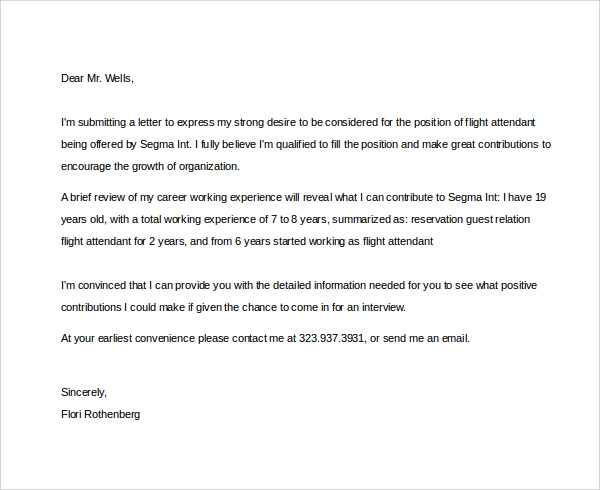 flight attendant cover letter example