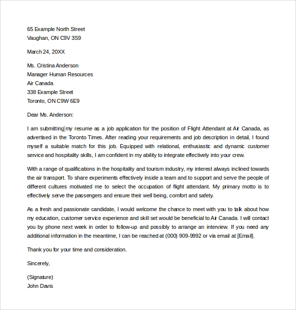 cover letter for cabin crew position cover letter example