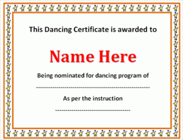Attractive Dance Performance Certificate Template Pictures Gallery