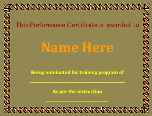 Sample Performance Certificate Template 5 Free Documents in PDF – Performance Certificate Template