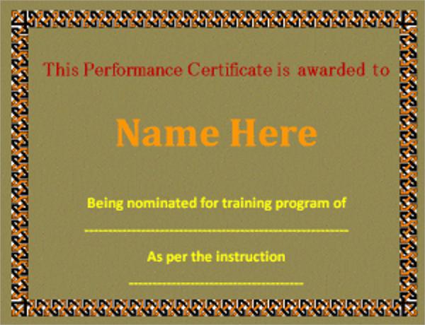 sample performance certificate template