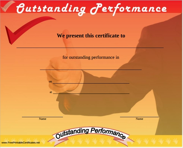 Sample Performance Certificate Template 5 Free