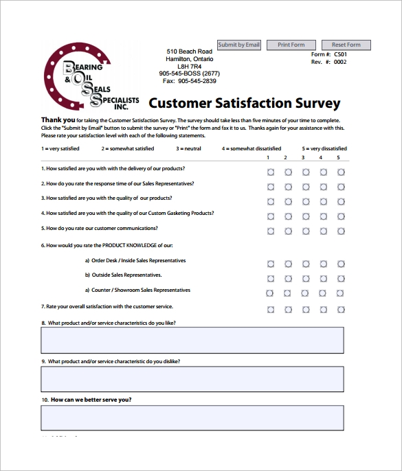Format Of Customer Satisfaction Survey  Free Customer Satisfaction Survey Template