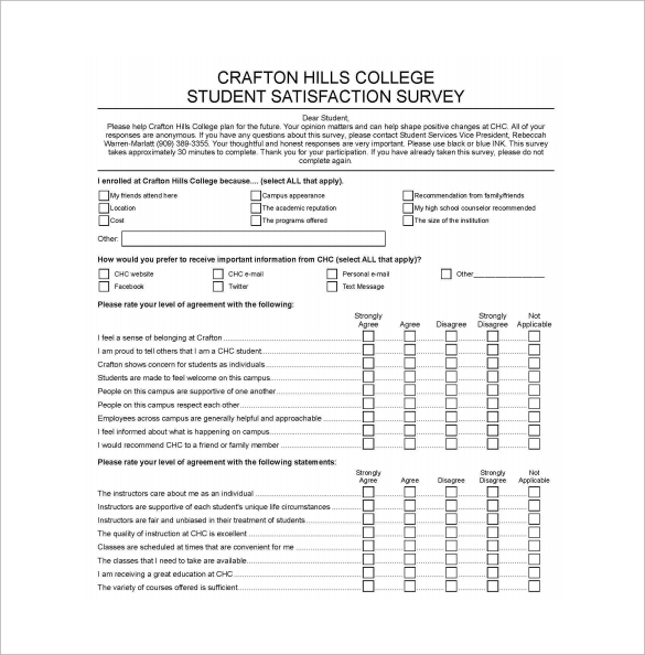 Sample Student Surveys
