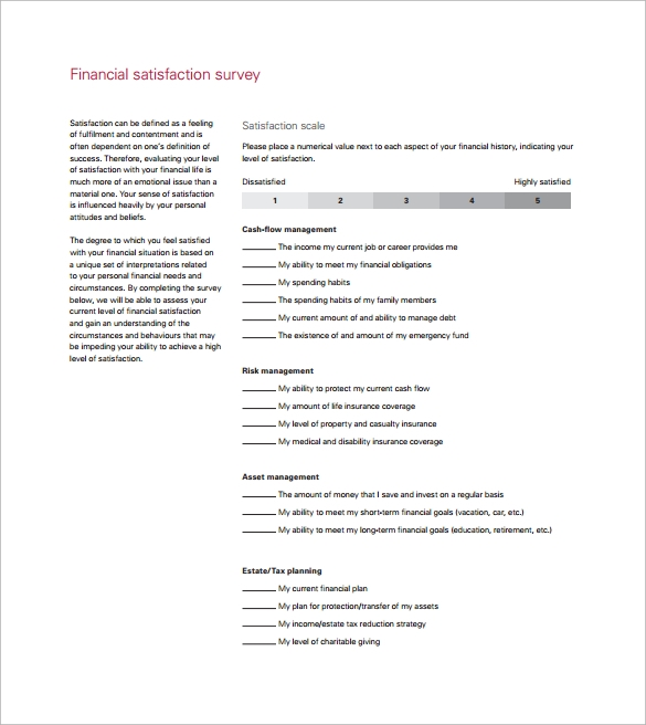 Sample Satisfaction Survey Template   Free Documents In Word Pdf
