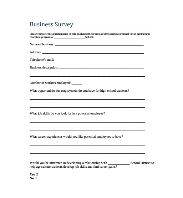 free business survey template