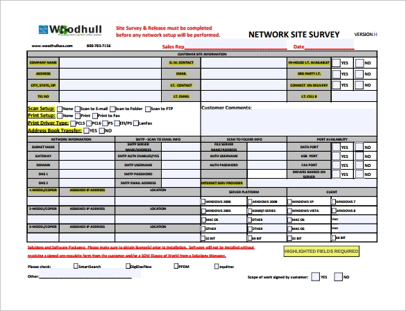 sample network site survey