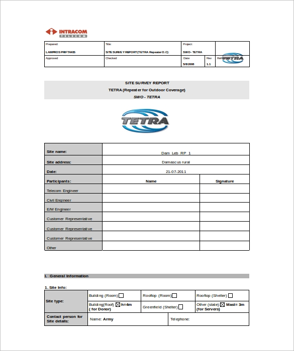 Site Survey Templates Download for Free