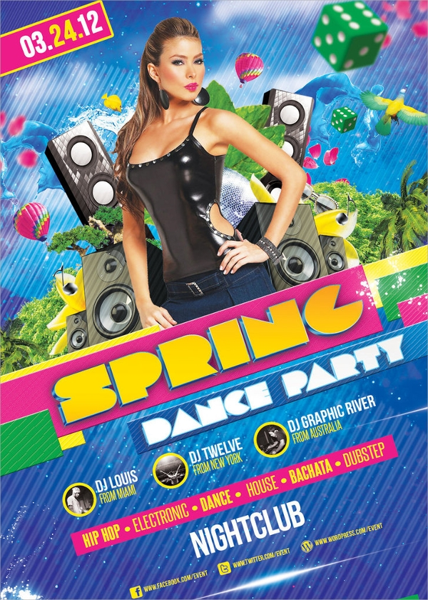 spring dance party flyer template