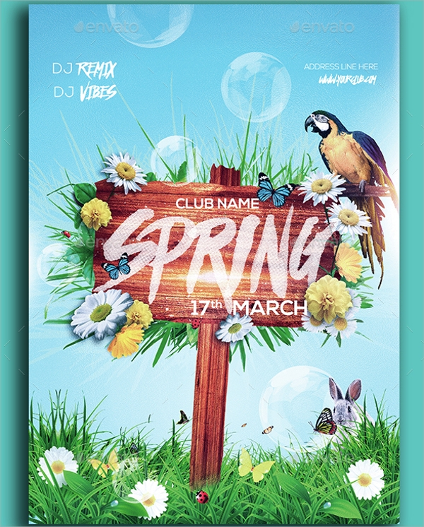 amazing spring party flyer template