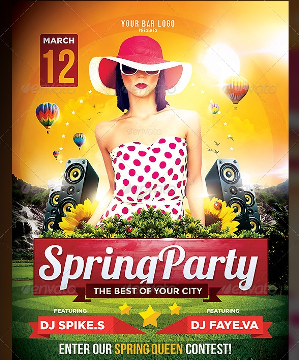 Spring Party Flyers  Psd Vector Format Download