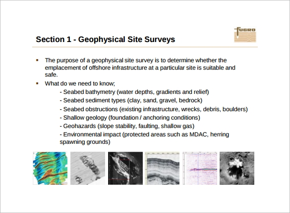 example of geophysical site survey