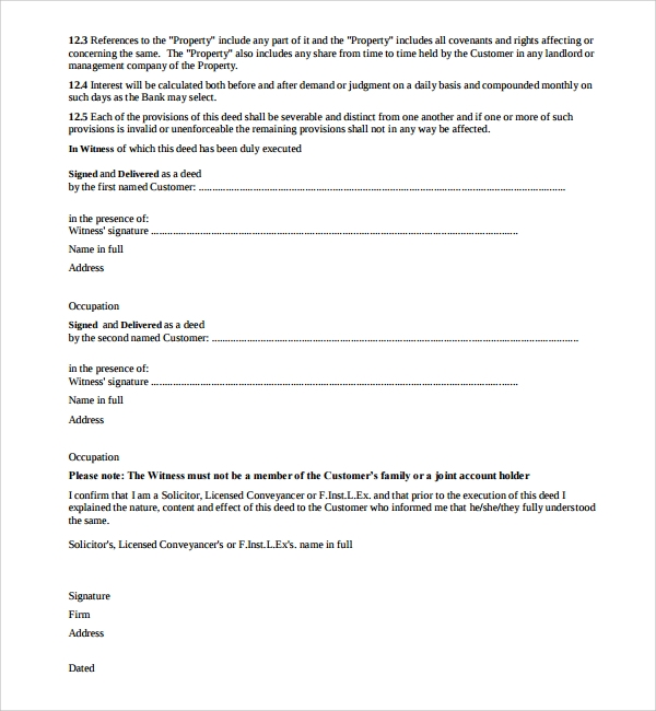 Sample Mortgage Agreement Template 12 Free Documents In