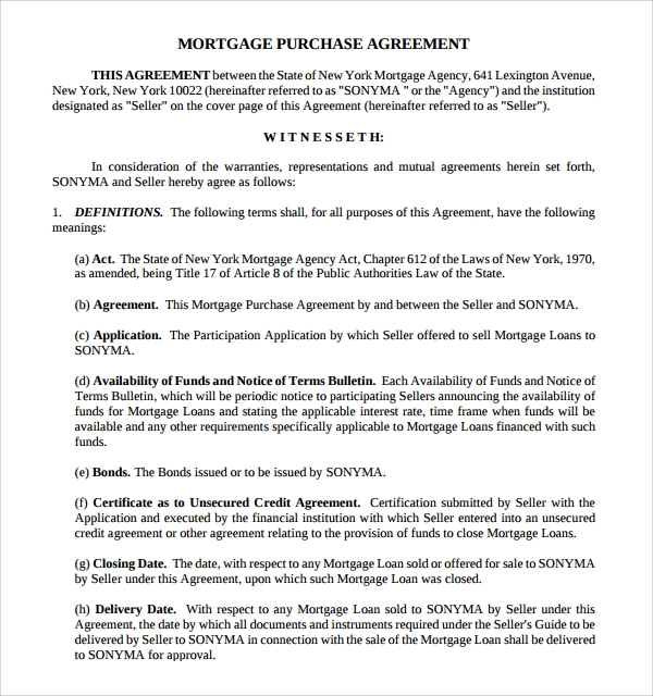Mortgage Purchase Agreement Template  Mortgage Templates