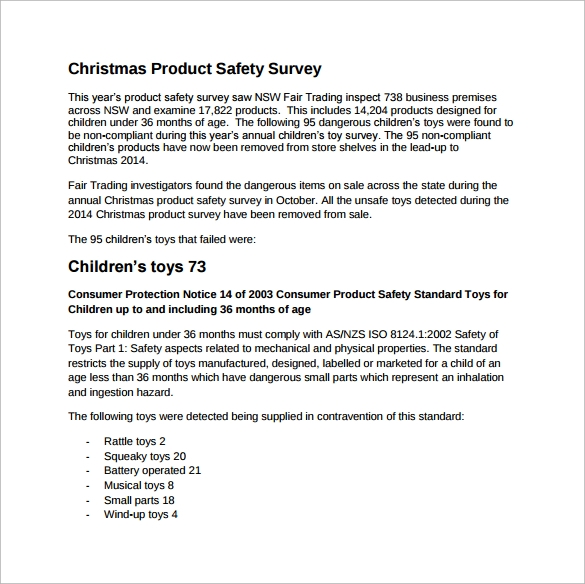 Sample Product Survey Template   Free Documents In Word Pdf