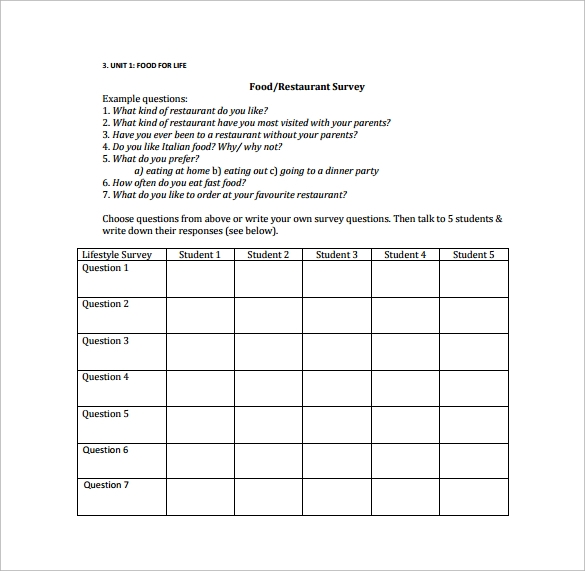 Sample Restaurant Survey Template   Free Documents In Word Pdf
