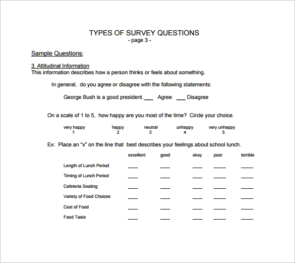 types of survey questions free pdf