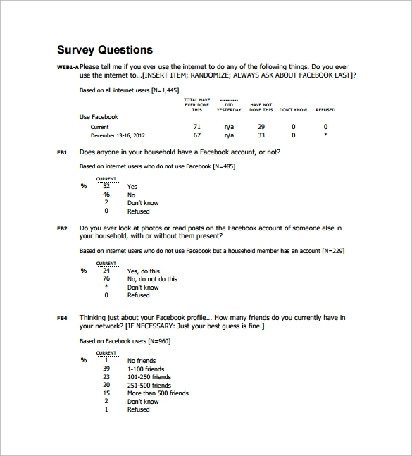 sample survey question template