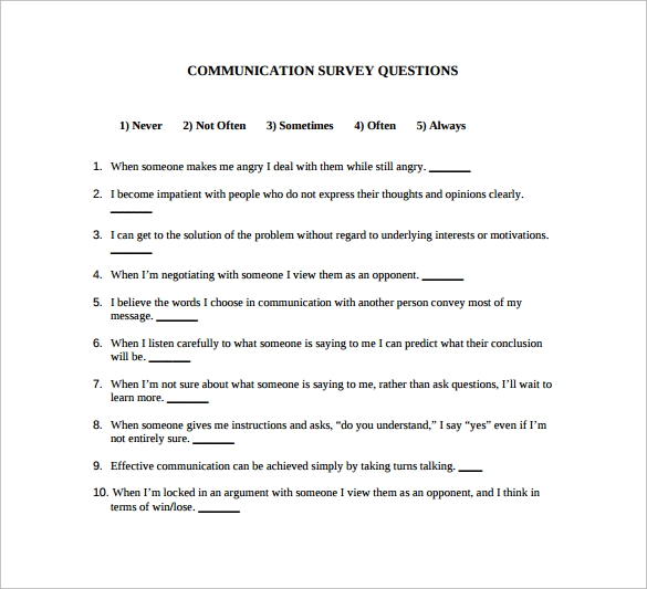 survey question template download free documents in word