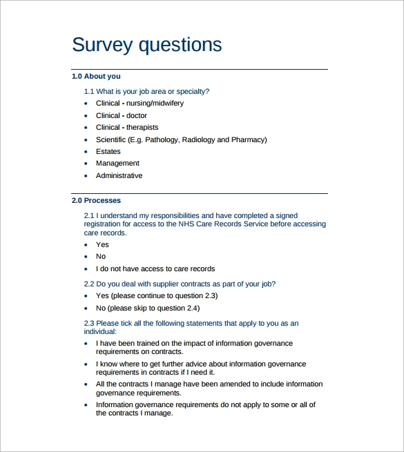 Sample Survey Question Template   Free Documents In Word Pdf