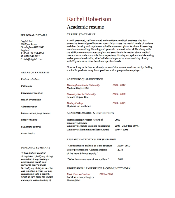 sample professional academic resume2