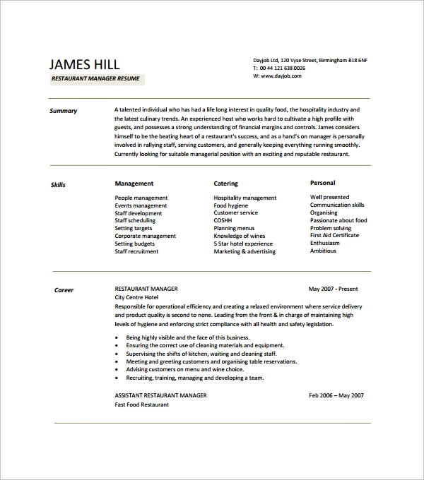 Food Service Waitress Waiter Resume Samples Tips Restaurant