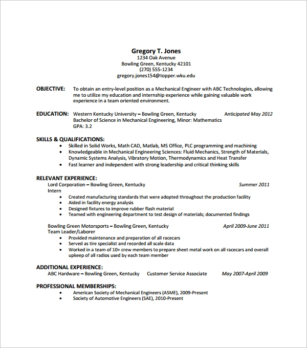 entry level resume example1