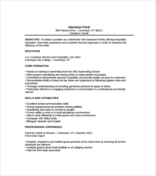 Resume Examples Bartending Samples Objective For Good Resumes