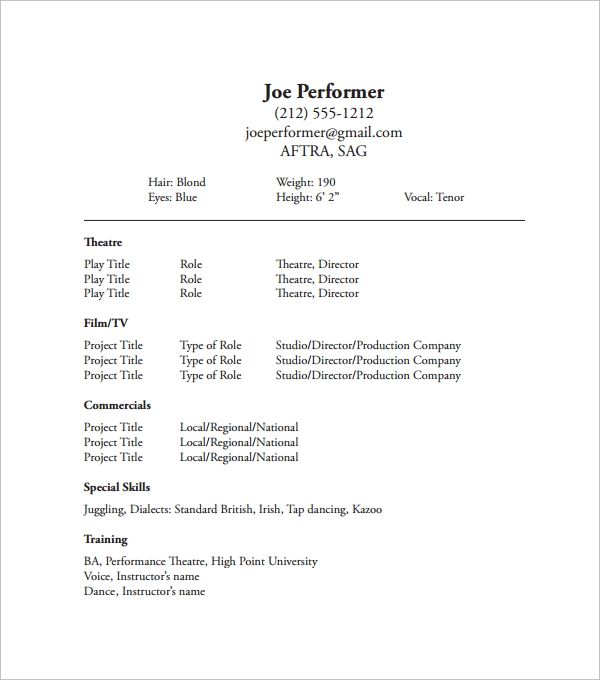 Theatrical Resume Template