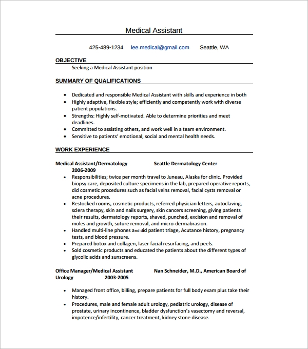 medical assistant resume sample1