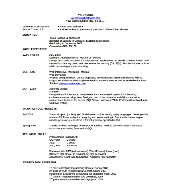 Permalink to Contemporary Resume Templates Free