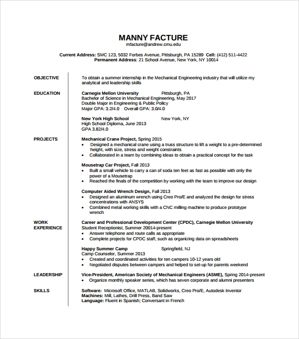 sle resume template in psd pdf word