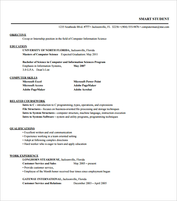 Internship Resume Pdf Pdf Resume Examples Adobe Acrobat Resume Resource  Resumes For Internships Templates Resume Template.