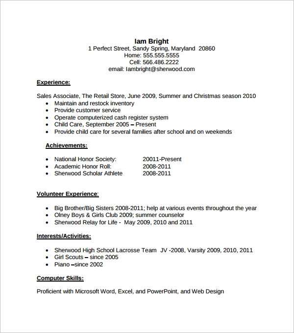 Resume Template High School Senior Students Examples Resumes Academic .