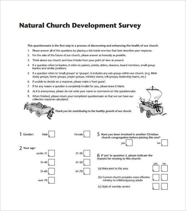 Sample Church Survey Template   Free Documents In Word Pdf