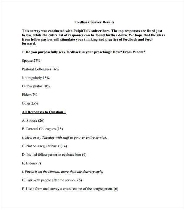 Sample Church Survey Template 7 Free Documents in Word PDF – Survey Sample
