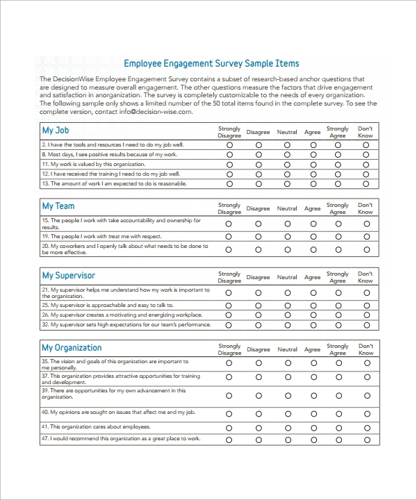 Calendar Organization Questionnaire : Employee survey templates download for free sample