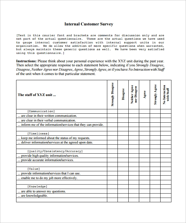 survey template in word